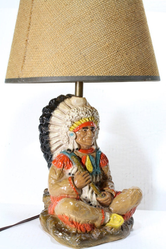 Vintage Native American Indian Chief Lamp By FishboneDeco