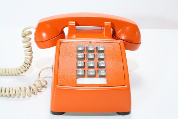 Refurbished Retro Bell Orange Push Button Phone