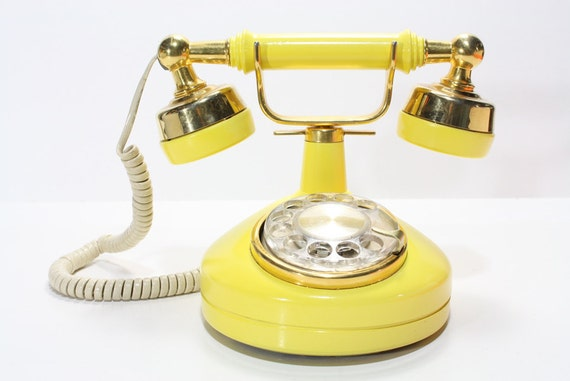 Refurbished Retro Western Electric Yellow Rotary Telephone