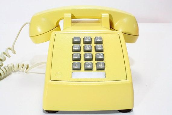 Refurbished Retro Western Electric Yellow Push Button Phone
