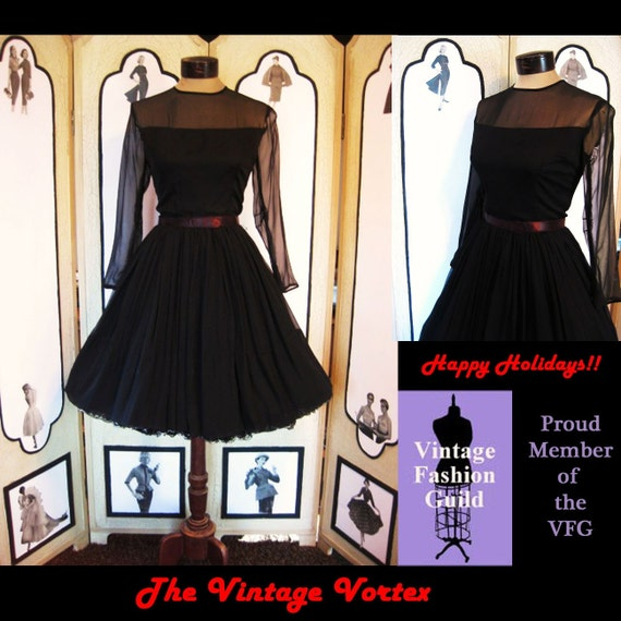 Dancing Girl-Vintage 50s 1950s Black Chiffon Cocktail Dress with Full Skirt. S Small. FREE US Shipping.