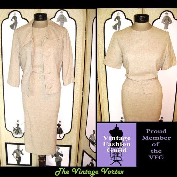 Shop Girl-Sweet Vintage late 50's Early 60's 3 Piece Dress Suit in a Lovely Oatmeal Color. M Medium. FREE US Shipping