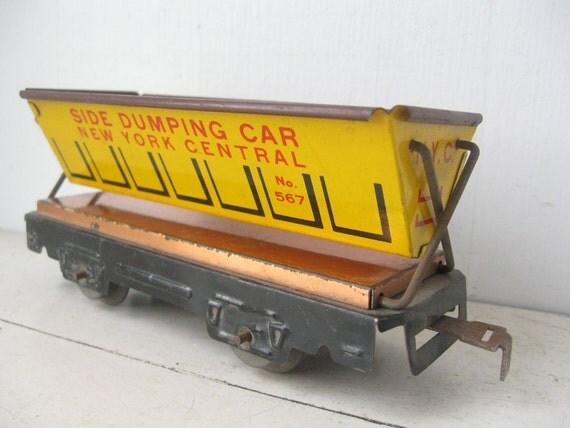 Vintage Toy Train Car, 1940's, Marx Toy Co,  Side Dumping Car