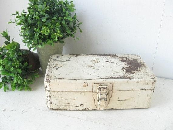 Chippy White Industrial Metal Storage Box