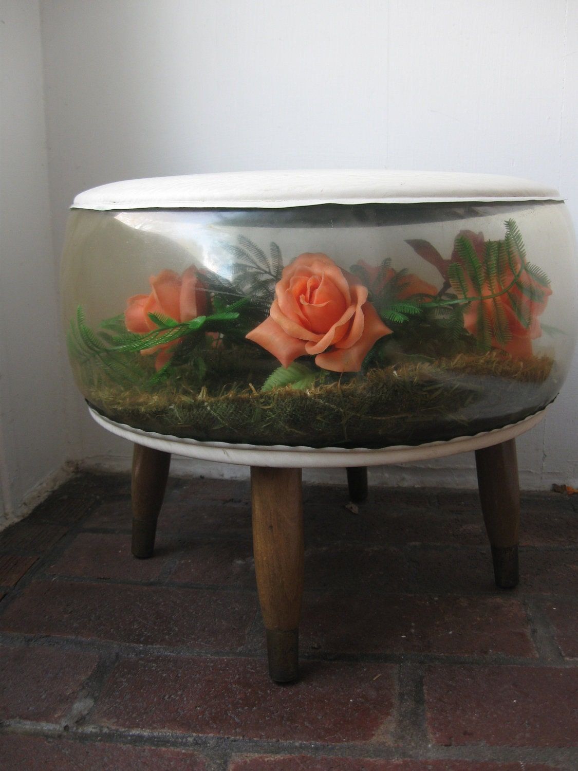 Inflatable Terrarium Ottoman Foot Stool With Faux Flowers