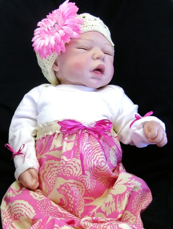 JOANNE.. BABY & MOM Pkg... Chic Maternity Hospital Gown-Dress for Mom with Gown and Headband or Knit Cap for Baby... Designer Fabric