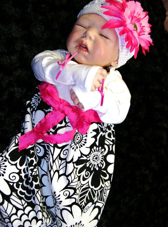 Lori... Baby & Mom Pkg...Chic Maternity Hospital Gown-Dress for Mom...Baby Gown and Headband or Knit Cap...Custom or Ready to Ship