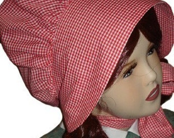 Custom Made Traditional Prairie Pioneer Check Fabric Bonnet for Girls