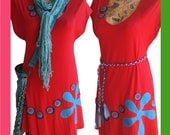 SALE XS to M - Minidress for layering w handmade applique and braided belt - Red
