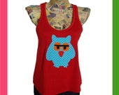Owl Red Crop Top  by teclur