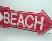 Beach Sign Nautical Coastal Decor Distressed Shabby Chic Nursery Decor Custom Colors Available