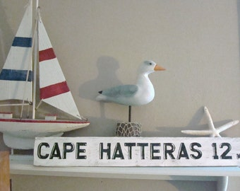 Beach Sign Outer Banks Cape Hatteras Vintage style Road  Mile Marker Choose your Mileage