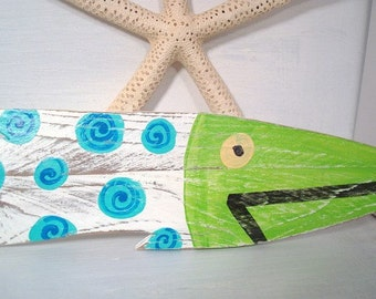Fish Wall Decor  Picket Fence ONE You choose colors Nautical Coastal Beach Cottage Nursery Decor