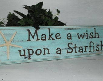 Starfish Make a Wish Sign Coastal Cottage Beach Decor Baby Nursery Decor