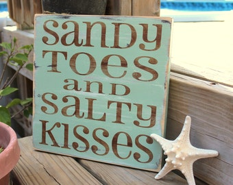 Beach Sign Sandy Toes Salty Kisses Coastal Beach House Nautical and Nursery Decor Sea Green