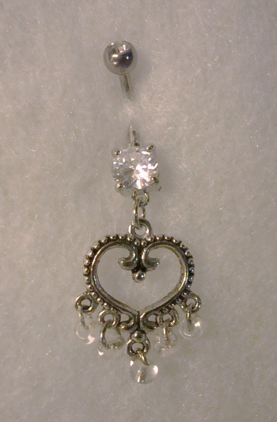 Bridal Sparkle Heart Belly Button Ring