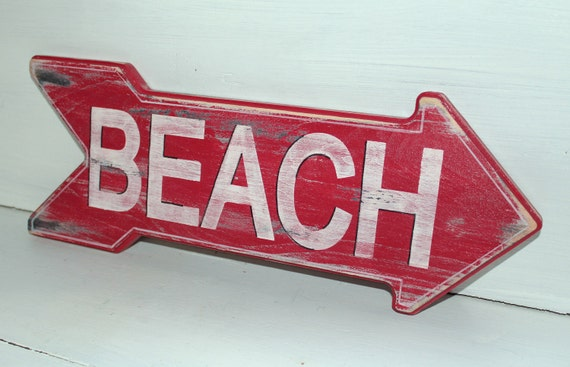 Beach Sign Nautical Coastal Decor Distressed Shabby Chic Nursery Decor Custom Colors Available