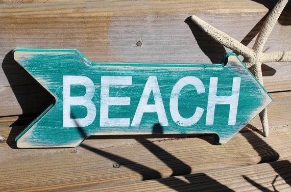 Beach Sign Beach Arrow Nautical Nursery or Coastal Decor  TURQUOISE