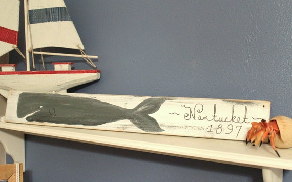 Nantucket SignNautical Vintage style Whale  COASTAL DECOR Beach Sign
