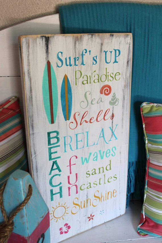 Beach Words Sign Subway Style Coastal Cottage Nursery And