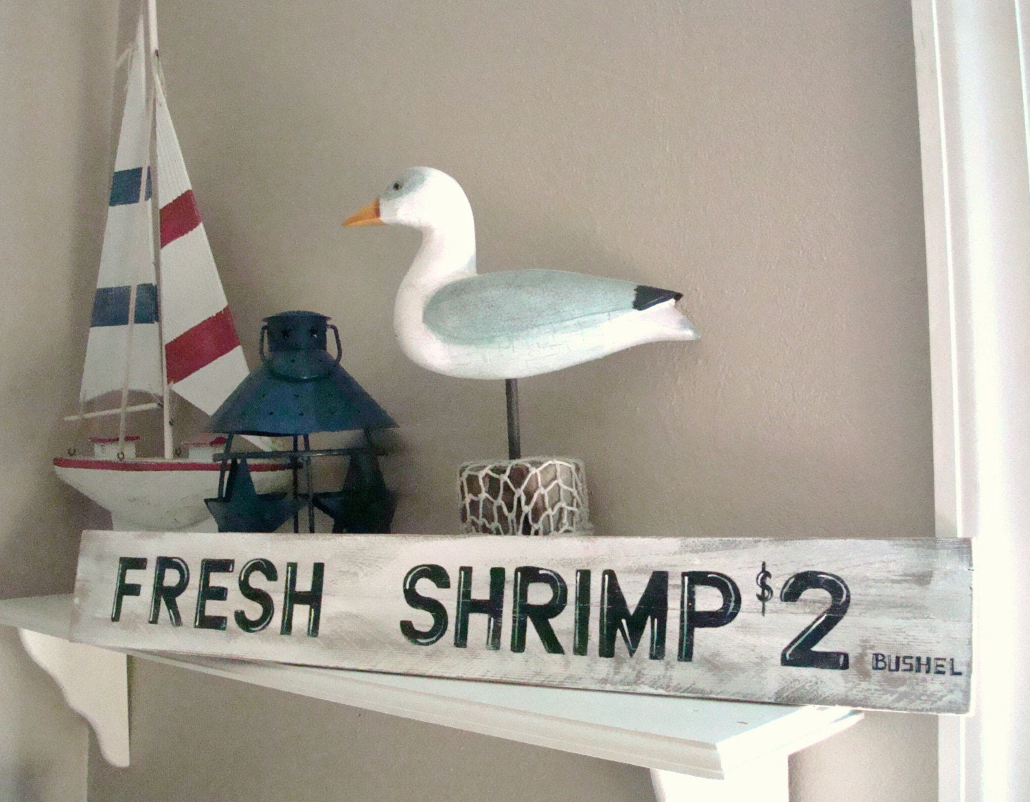 Beach Sign Shrimp Vintage Style Nautical By Justbeachyshop