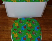Sesame Street  Characters Toilet Seat Cover and Tank Lid Cover Set