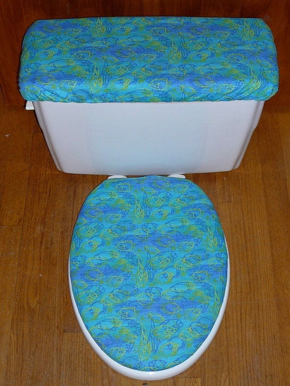 Items similar to fish bowl toilet seat and tank lid cover for Book with fish bowl on cover