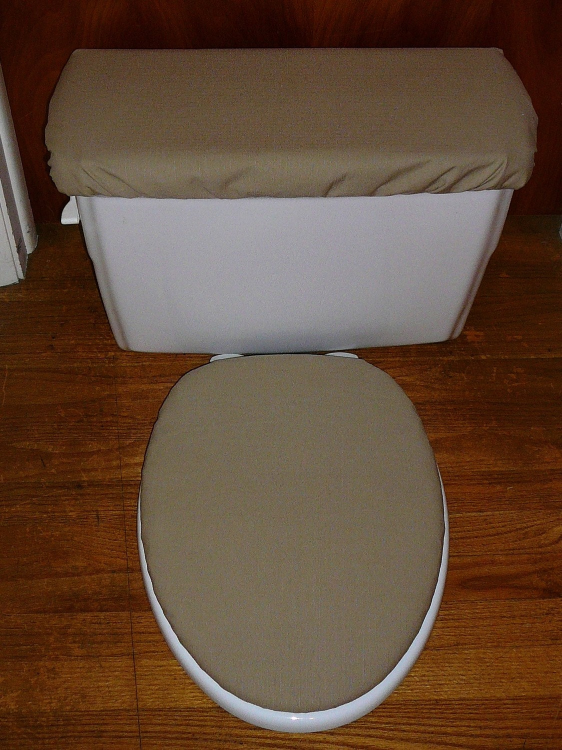 Tan Beige Toilet Seat Cover And Tank Lid Cover Set