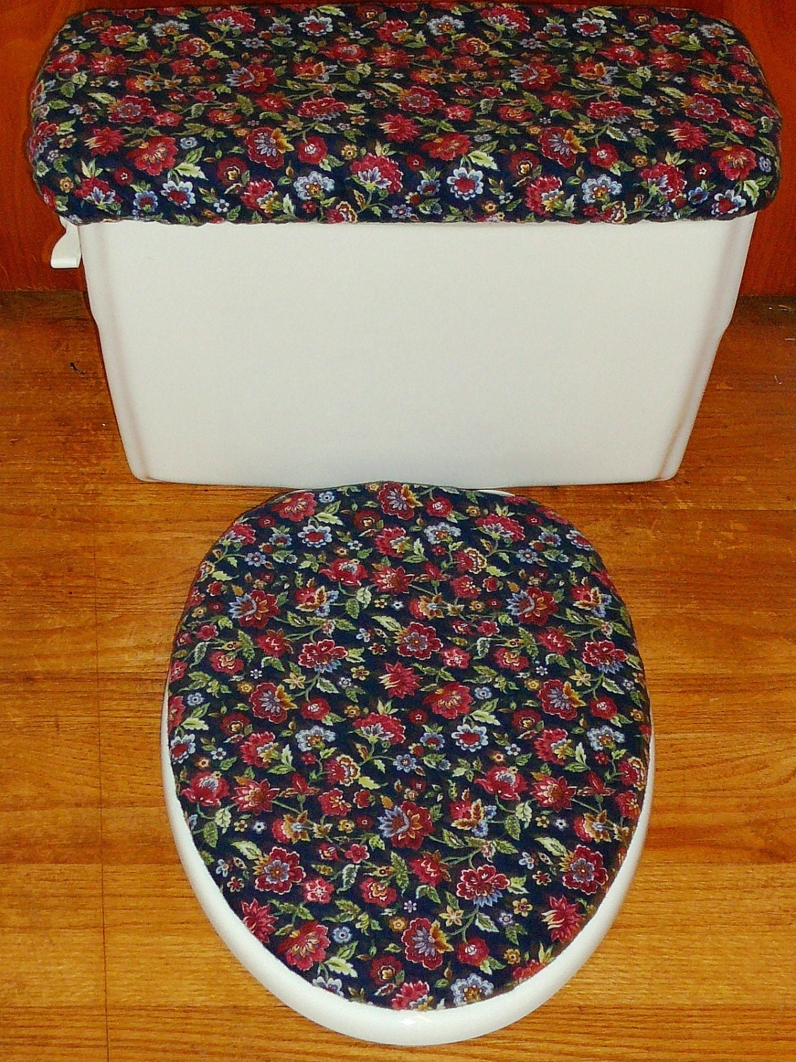 Flowery Flannel Toilet Seat Cover And Tank Lid Cover