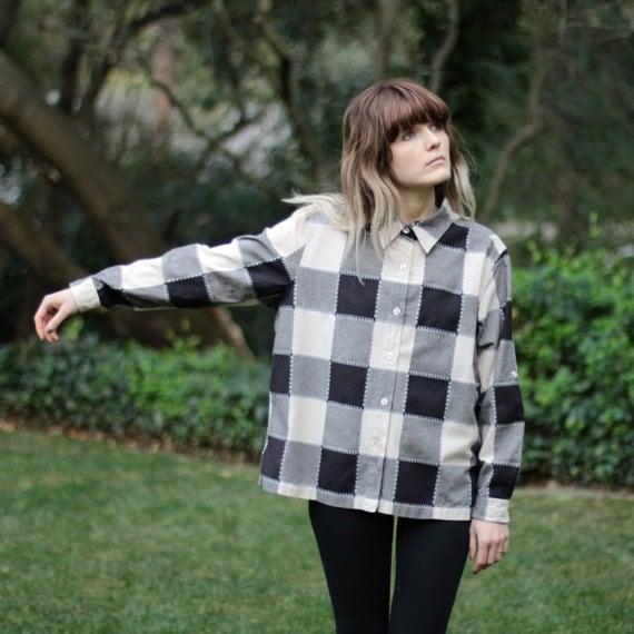 Cream & Black Checkered Shirt - XL (on hold until 4/17)