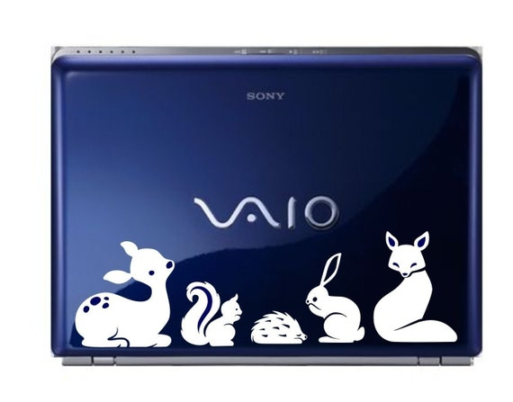 Vinyl laptop Decal Animals Laptop Decals Set Deer Rabbit Hedgehog Fox Squirrel