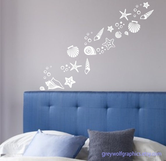 Items similar to beach shells wall decals set of 30 for Beach wall mural decals