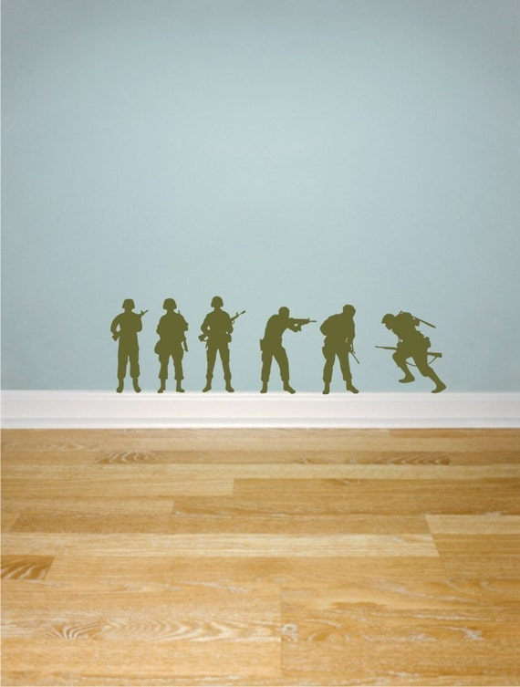 Army Soldiers silhouettes vinyl wall decals Set of 6 soldiers