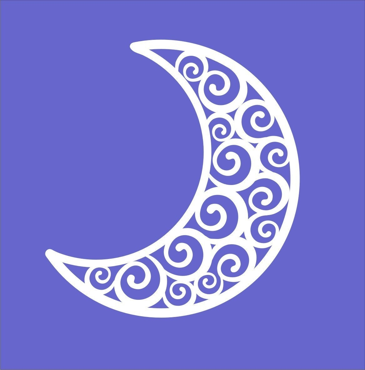 Swirling Crescent Moon Wall Decal