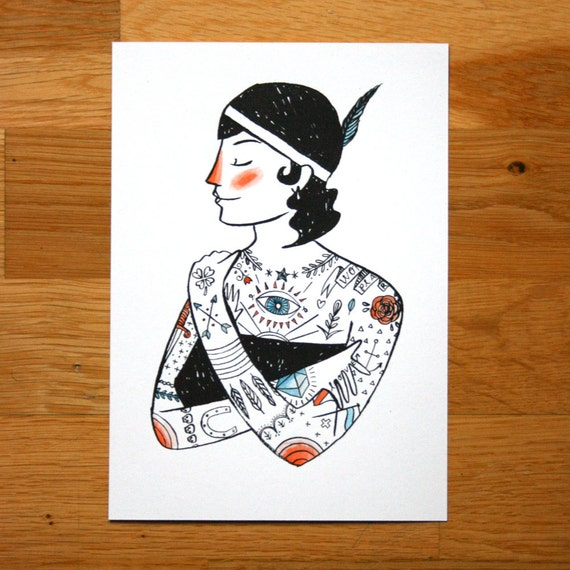 The Illustrated Lady - hand coloured screen-print - LAST ONE