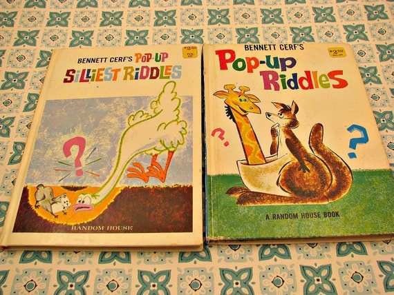 SO CUTE 2 Vintage Pop Up Books of Riddles and Jokes