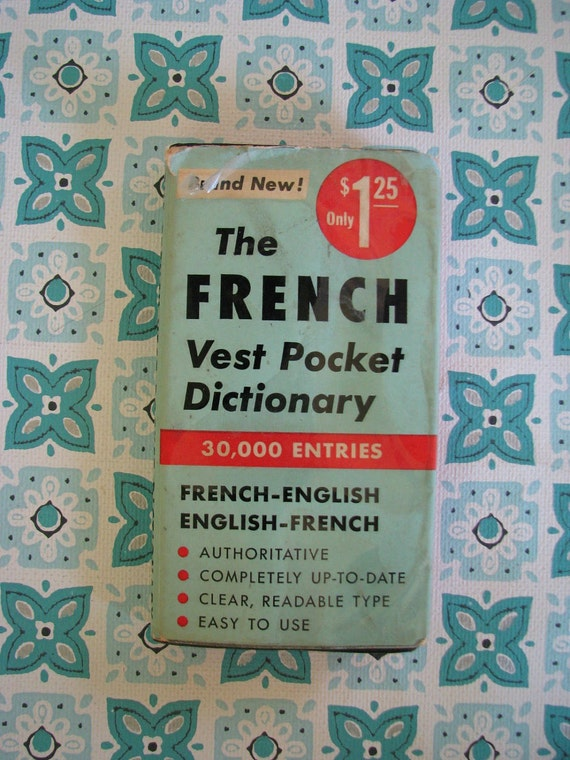 Vintage 1954 Pocket French Dictionary 319 pages