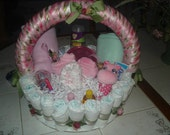Pink and Green Diaper Cake Basket