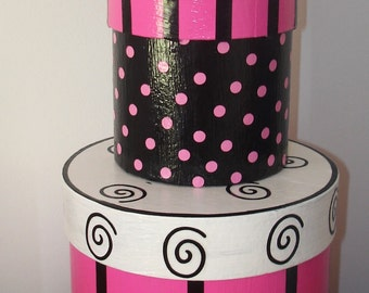 Pink and Black Nesting Boxes Paris Decor