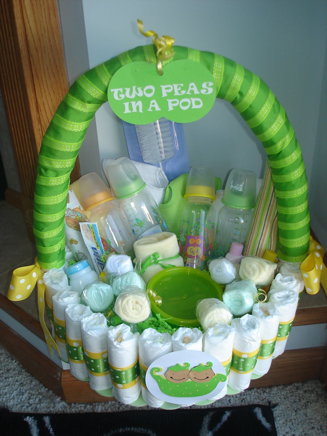 Baby Gift Baskets For Triplets : Two peas in a pod diaper basket by teresaphillips on etsy