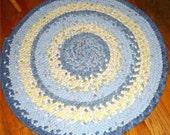 Round Braided Rug 33 inch Denim Cotton Blue and Yellow & Bonus Set of 4 Chair pads FREE