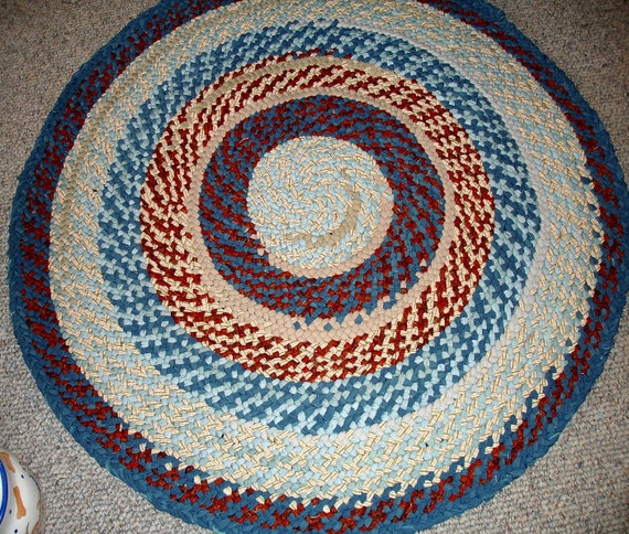 Teal Woven Rag Rug: Items Similar To Handmade Braided Rug 4 Feet Round Teal
