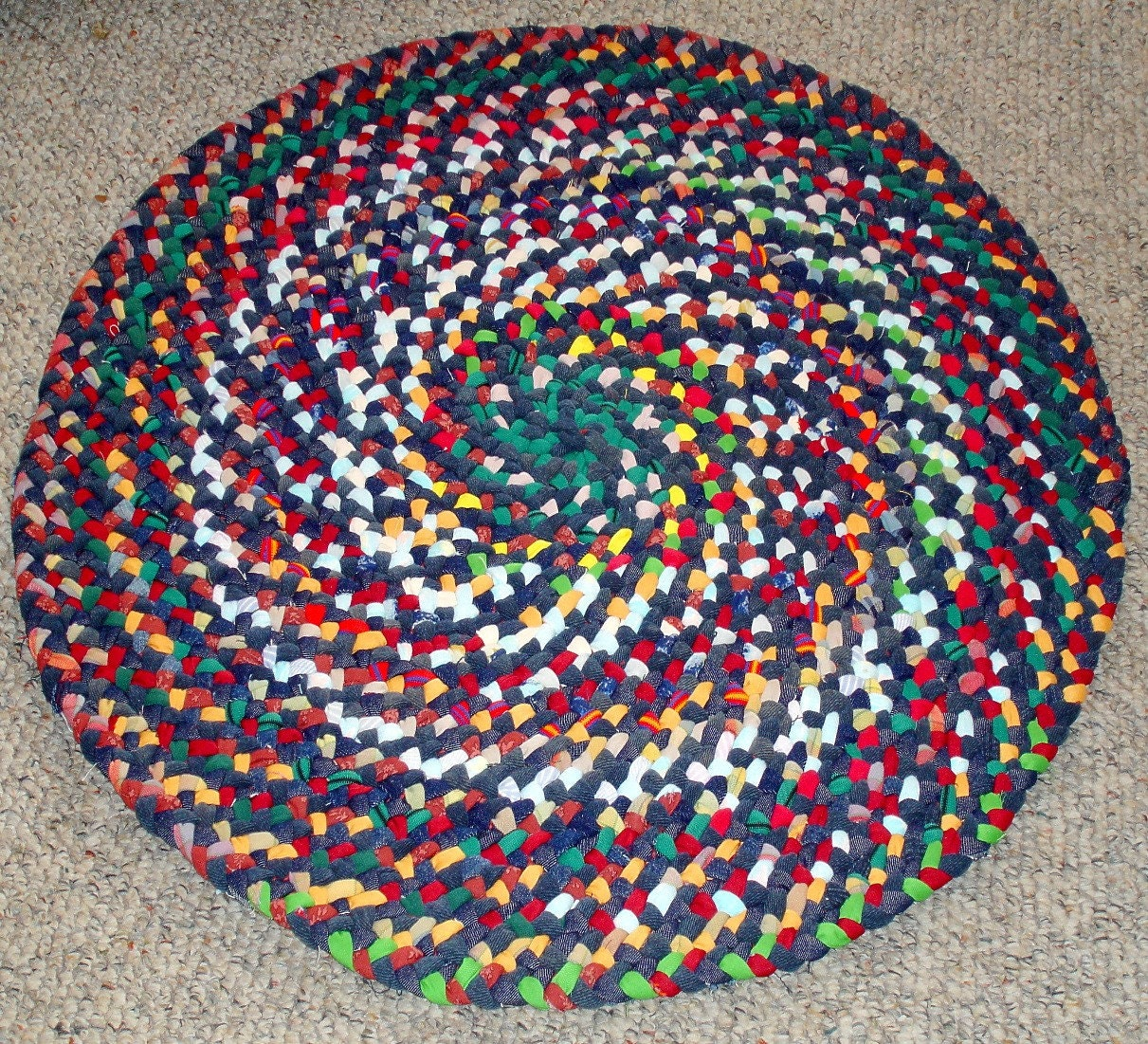 30 In Round Braided Rug From Repurposed Jeans Amp Cotton Reds
