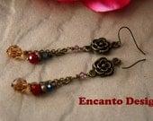 Antique brass flower earrings multi crystal ethnic earrings, beaded jewelry, mixed beads