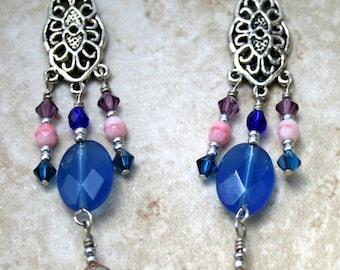 Sale Blue Quartz earrings, glass beads, crystal jewelry, long earrings boho