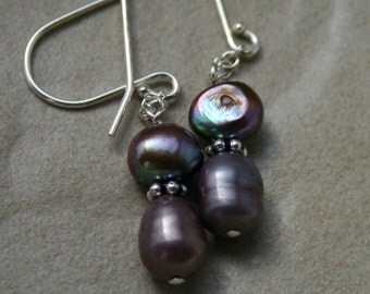 Pearl Earrings - sterling silver earrings - beaded earrings