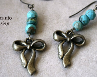 Turquoise bead Earrings , Antique Brass , Bow charm jewelry,