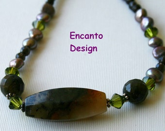 New Jade necklace , large labradorite bead, multi stone necklace