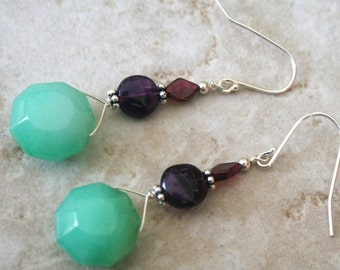 Jade Sterling silver earrings -  jade amethyst garnet