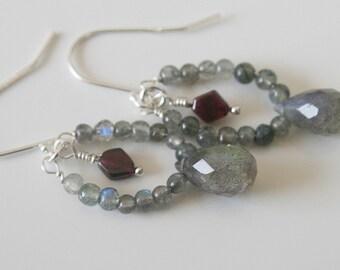 Labradorite earrings -  garnet stone - sterling silver earrings